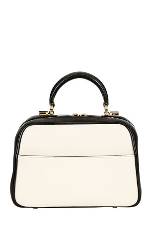 Valextra Saffiano Small Top-Handle Boxy Bag