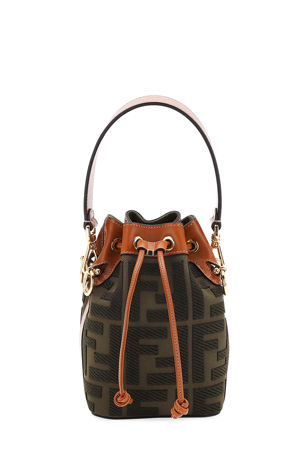 Fendi Mon Tresor Mini FF Embroidery Bucket Bag