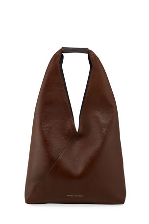 Brunello Cucinelli Greased Leather Hobo Bag with Monili Detail