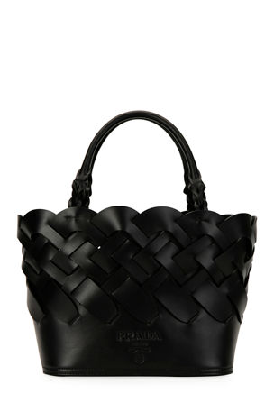 Prada Woven Vitello Large Tote Bag