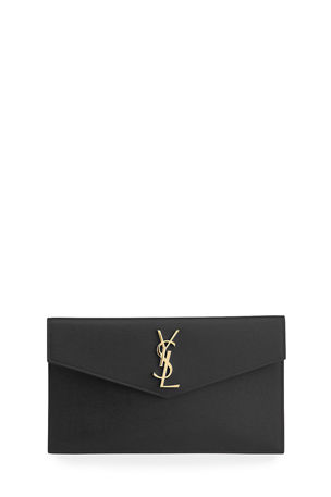Saint Laurent Uptown Medium YSL Monogram Grain de Poudre Clutch Bag