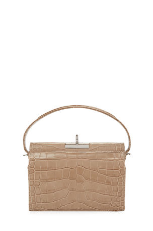 Gu_de Milky Shiny Croc-Embossed Top-Handle bag