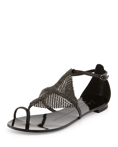 Lola Cruz Crystal Mesh Toe-Ring Sandal