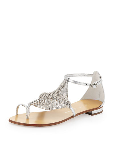 Crystal Mesh Toe-Ring Sandal