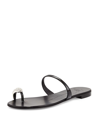 Metallic Toe-Ring Flat Sandal
