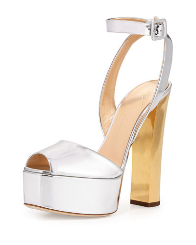 Metallic Leather High-Heel Sandal