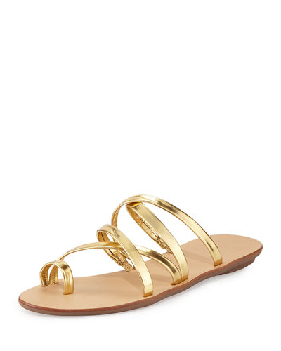Sarie Leather Toe-Ring Flat Sandal