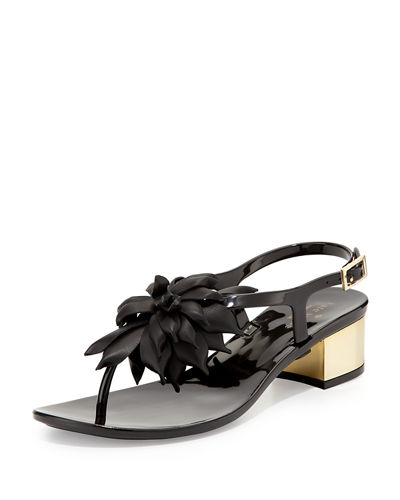 davina flower jelly low-heel thong sandal