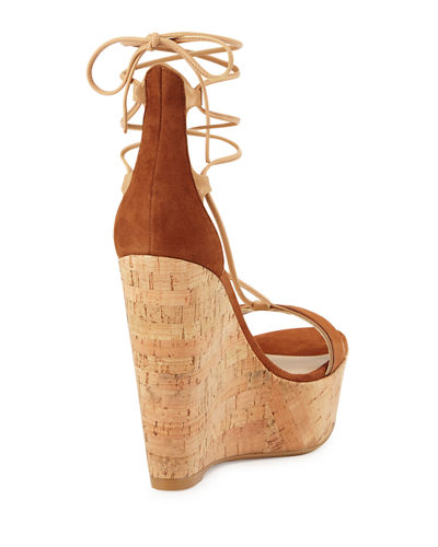Wrap It Suede Lace-Up Wedge Sandal