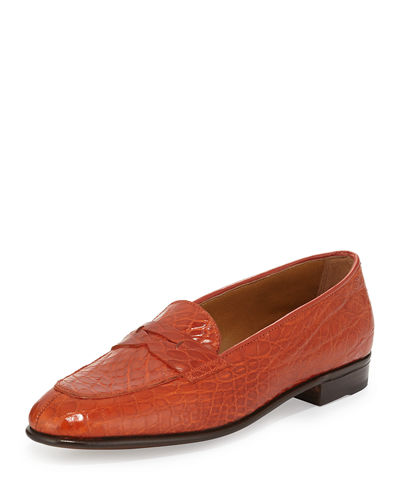 Crocodile-Embossed Penny Loafer