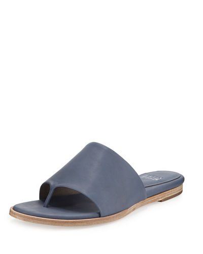 Edge Leather Thong Sandal, Dark Mulberry