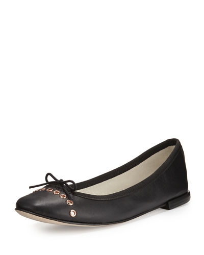 Devie Grommet Leather Ballerina Flat