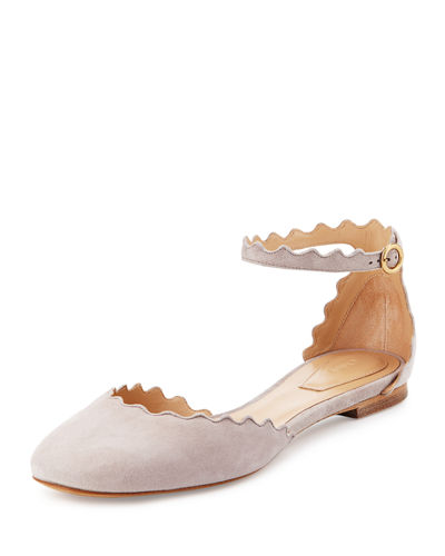 Lauren Scalloped Suede Ankle-Strap Flat