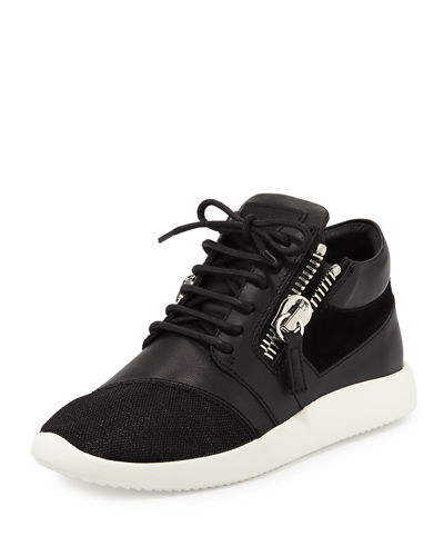 Giuseppe Zanotti Side-Zip Lace-Up Mid-Top Sneaker