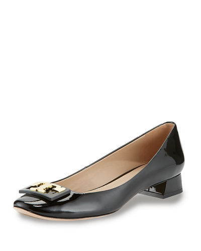 Gigi Logo Low-Heel Pump, Black