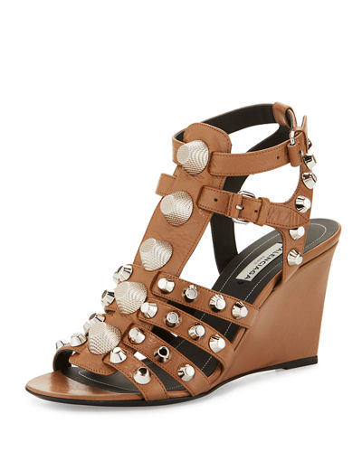 Studded Caged Wedge Sandal