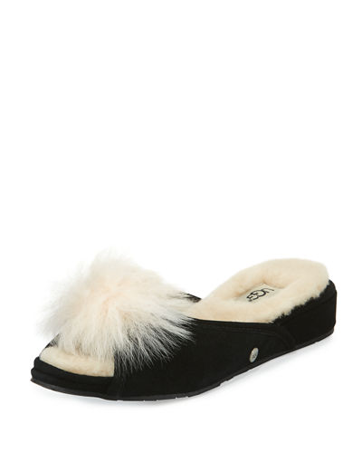 Yvette Pompom Slide Slipper