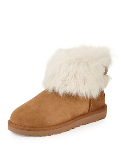 Valentina Crystal-Button Shearling Fur Boot