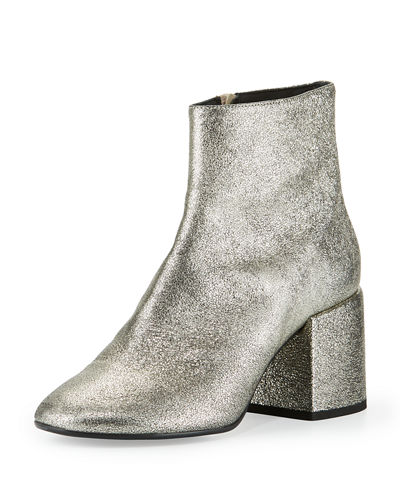 Metallic Leather Chunky-Heel Bootie