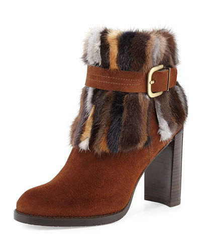 Gofurit Mink-Trim Ankle Boot