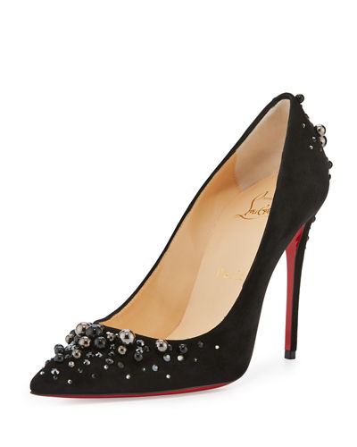 Candidate Pearly-Embellished Suede Red Sole Pump