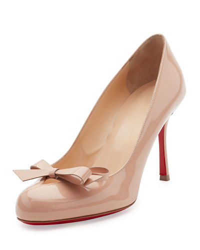 Vinodo Patent Bow 85mm Red Sole Pump