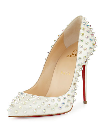 Follies Spike 100mm Red Sole Pump, White