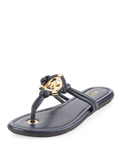 Kinley Logo Leather Thong Sandal