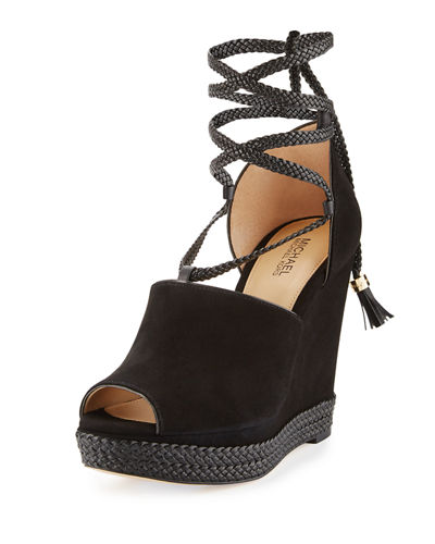 MICHAEL Michael Kors Hastings Suede Ankle-Wrap Wedge Sandal