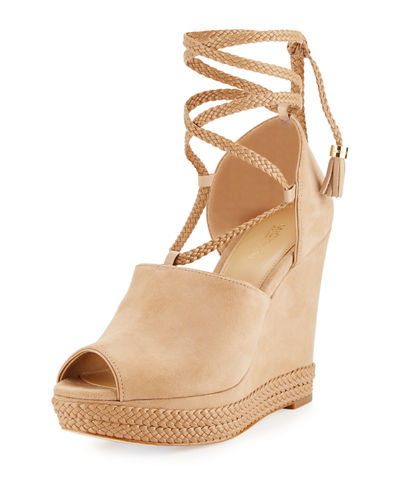 Hastings Suede Ankle-Wrap Wedge Sandal