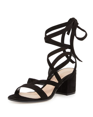 STRAPPY SUEDE ANKLE-WRAP SANDAL, TAN/CAMEL