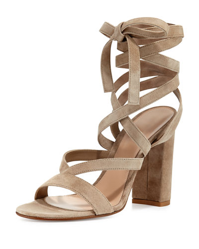 Janis High Suede Lace-Up 105mm Sandal
