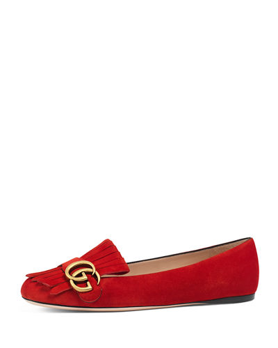 Gucci Marmont Fringe Suede Ballerina Flat