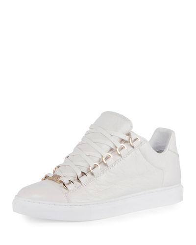 Crackled Leather Lace-Up Sneaker