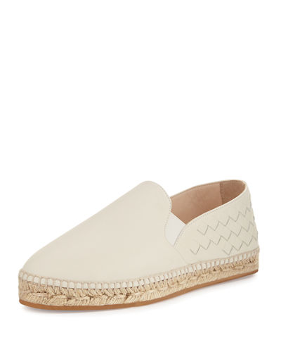Bottega Veneta Intrecciato Leather Espadrille Flat