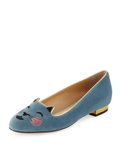Cheeky Kitty Emoji Velvet Ballerina Flat