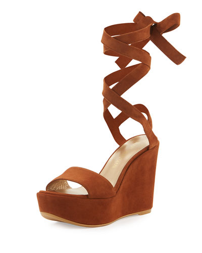Backtie Suede Ankle-Wrap Wedge Sandal