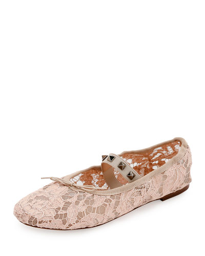 Rockstud Ballet Leather Ballerina Flat