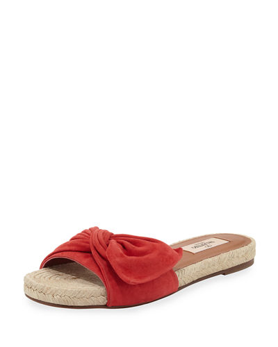 Tropical Bow Espadrille Slide Sandal