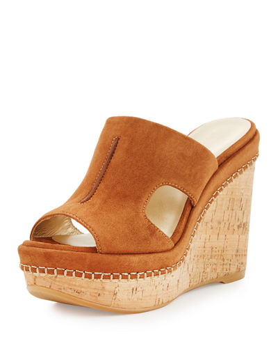 Ponte Suede Wedge Slide Sandal