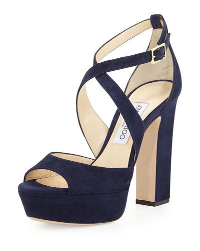 Jimmy Choo April Suede Crisscross 120mm Sandal