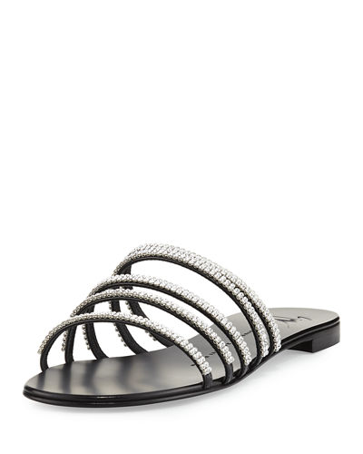 Crystal-Embellished Multi-Strap Slide Sandal