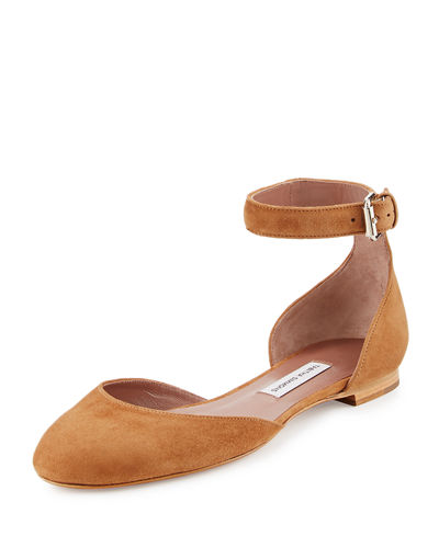 Lina Suede Ankle-Wrap Flat