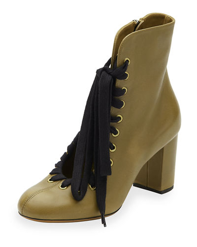 Lace-Up Leather Ankle Boot
