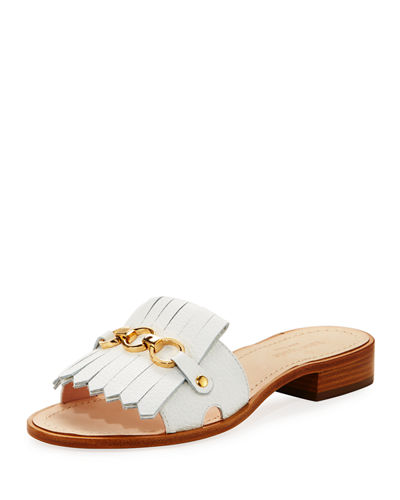 Brie Metallic Chain Flat Slide Sandal