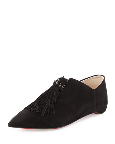 Medinana Suede Tassel Red Sole Flat