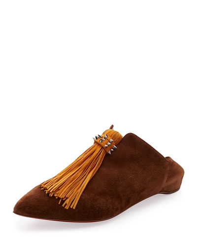 Christian Louboutin Medinana Suede Tassel Red Sole Flat