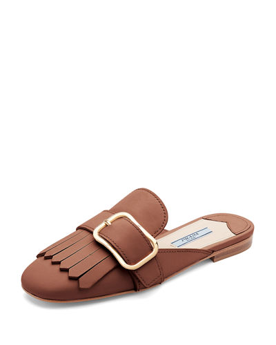 Prada Leather Buckle Kiltie Mule Flat