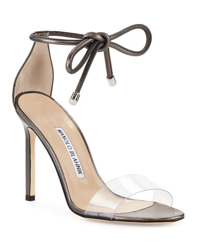 Manolo Blahnik Estro Leather & PVC Ankle-Wrap Sandal