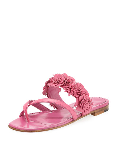 Susa Floral Leather Slide Sandal